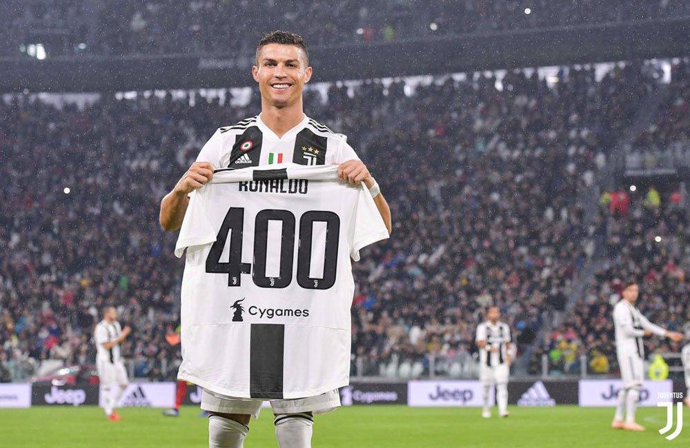 Cristiano Ronaldo raggiunge quota 400 partite in Juventus-Cagliari 2018-2019, Serie A TIM, e mostra la maglia celebrativa